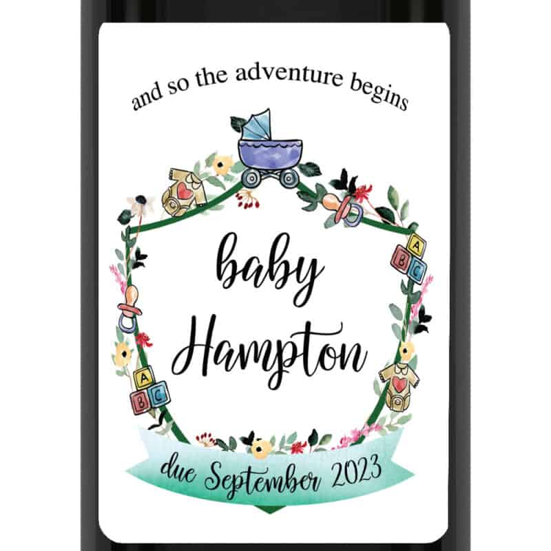 And so the adventure begins custom baby pregnancy announcement wine labels bwinelabel217