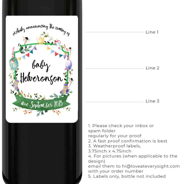 The coming of baby Personalized pregnancy announcement wine labels bwinelabel218