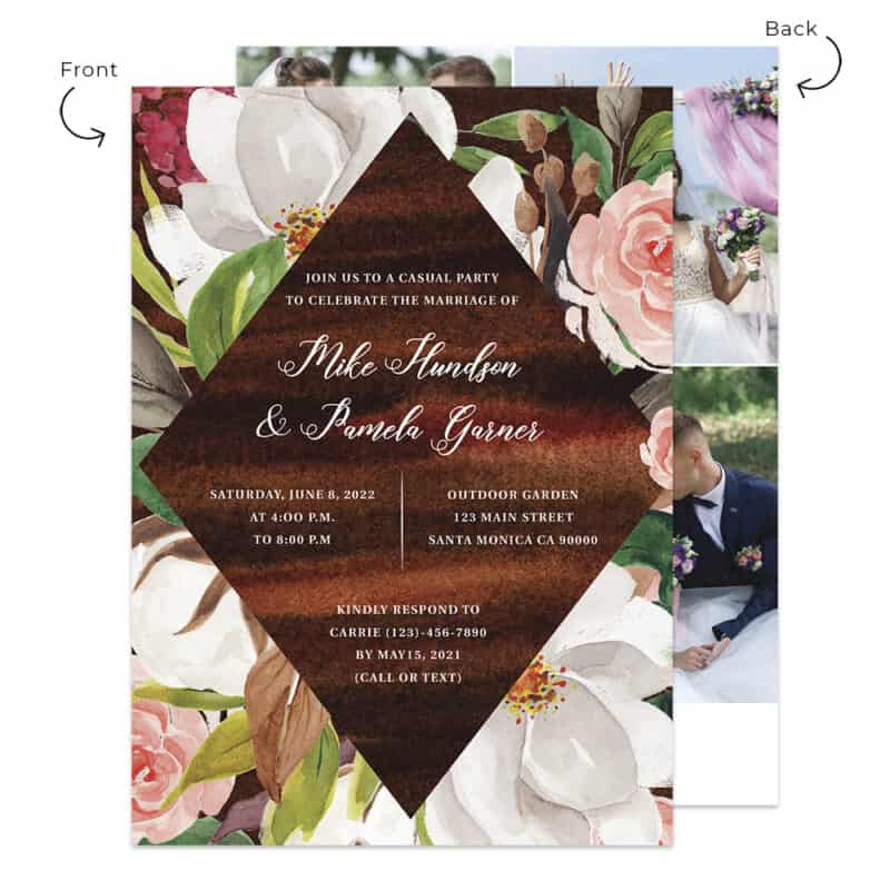 Rustic Wedding Reception Invitation Custom Cards, 518