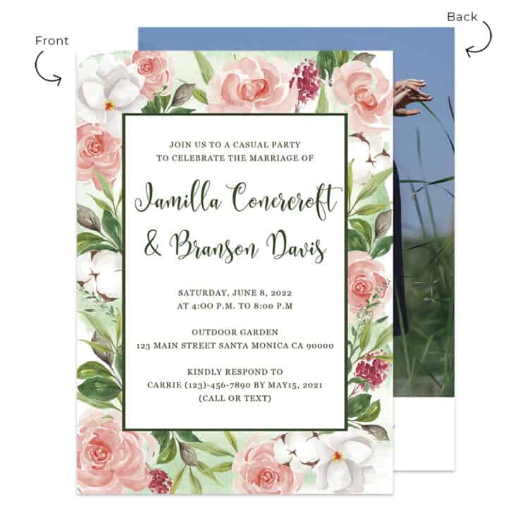 Garden Wedding Reception Invitation Custom Cards 519