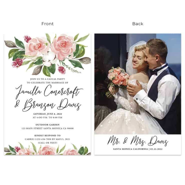 Elegant Wedding Reception Custom Cards 520