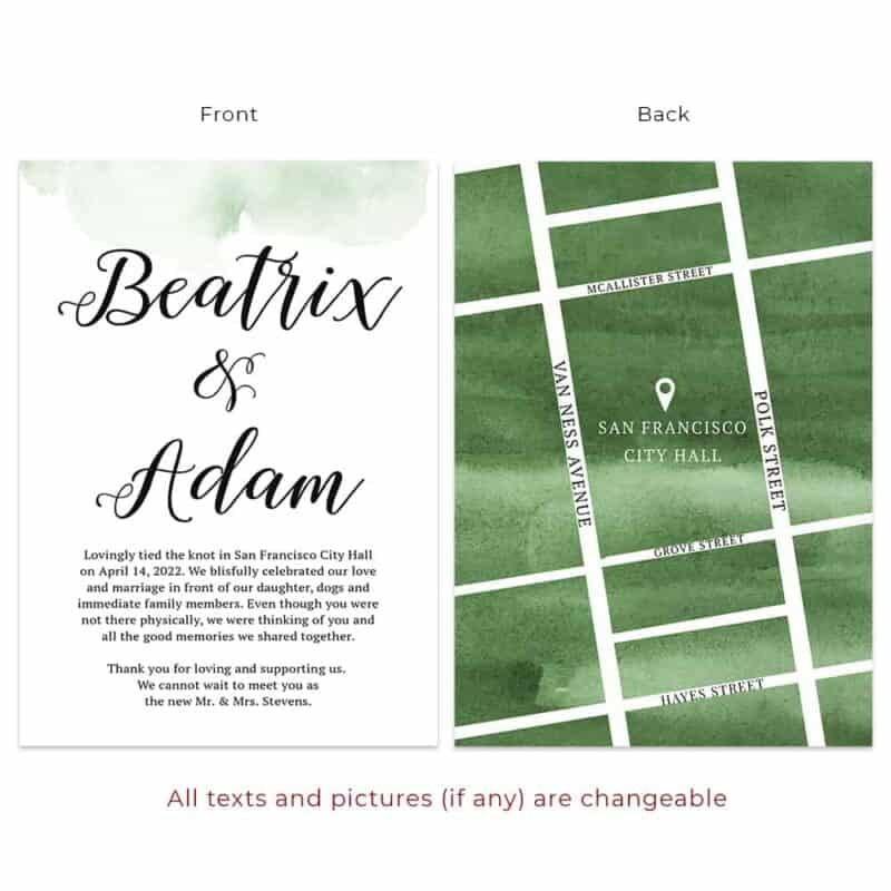 Custom Elopement Announcement Cards with Green Map, Simple  elopement523