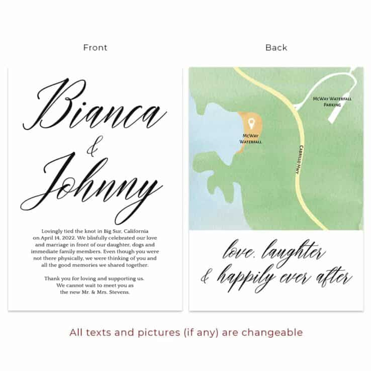 Simple wedding destination custom elopement announcement card elopement524