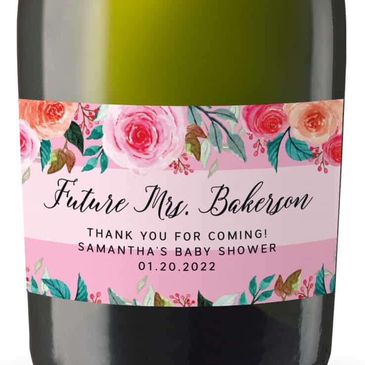 Custom Bridal Shower Mini Champagne Party Favor Label Stickers, Floral Pink and Peach, Sold in sets of 8 MN263