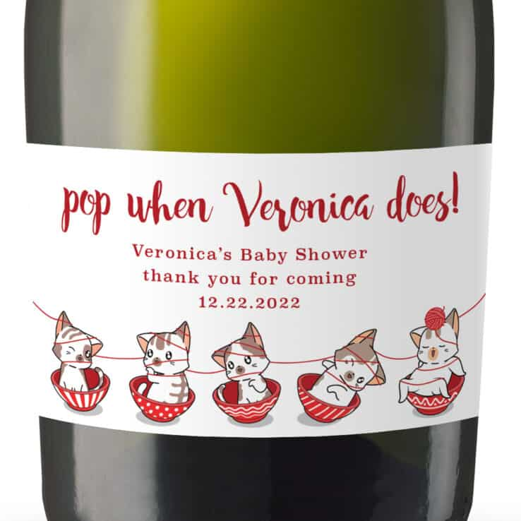 Cute Knitting Cats Custom Baby Shower Red Party Favors Mini Champagne, set of 8 MN269