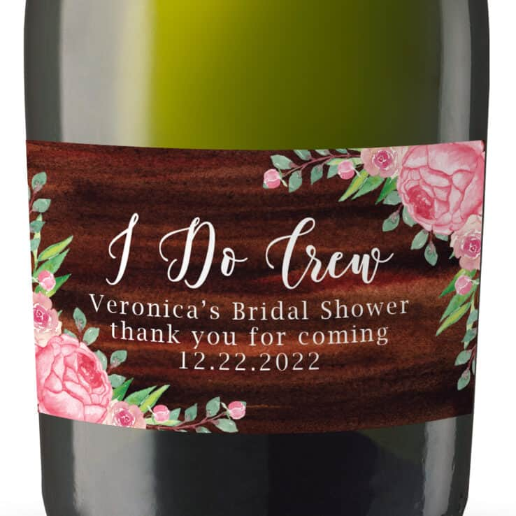 Rustic I do Crew Bridal Shower Pink Roses Custom Bachelorette Party Favors Mini Champagne, Set of 8 mn274