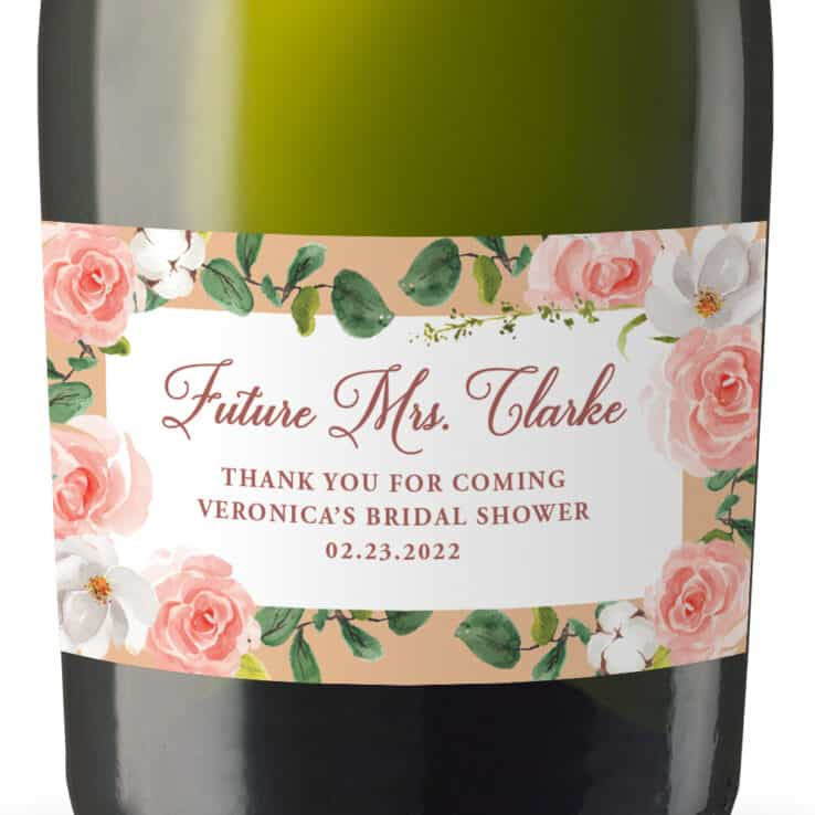 Personalized Bridal Shower Bachelorette Mini Champagne Party Favors , Peach and Soft Pink Set of 8 mn277