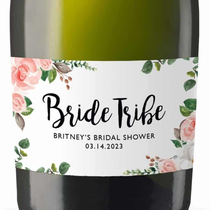 Minimalist Custom Bridal Shower Bride Tribe Mini Champagne Party Favors set of 8, mn280