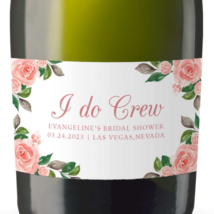 Floral I do Crew Custom Bridal Shower Mini Champagne Party Favors set of 8 mn293