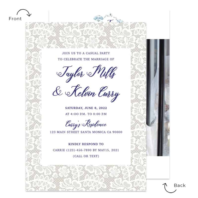 Rustic lace elopement announcement and wedding reception custom cards #532