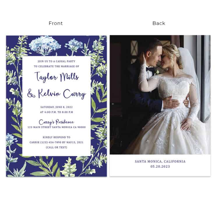 Classic blue floral wedding reception personalize cards Navy blue font color #533