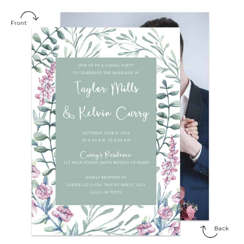 Pastel green wedding reception personalize card spring navy blue font color #534