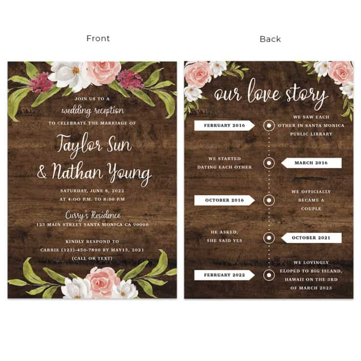 Custom rustic wedding reception cards with timeline, floral spring design #535