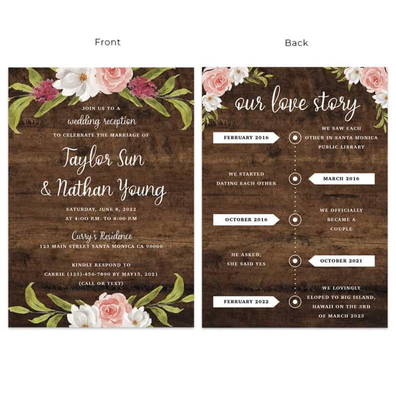 Custom rustic wedding reception cards with timeline, floral spring design #535