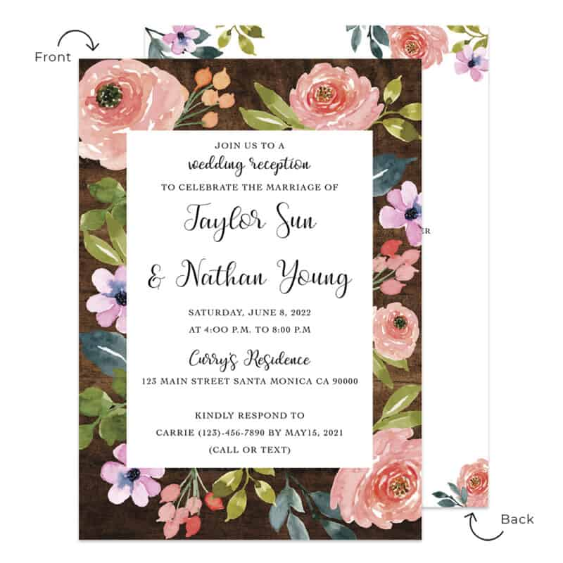Spring floral rustic wedding reception invitation cards  #536