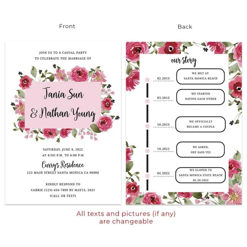 Red and pink super bllom floral custom wedding reception invitation cards #537