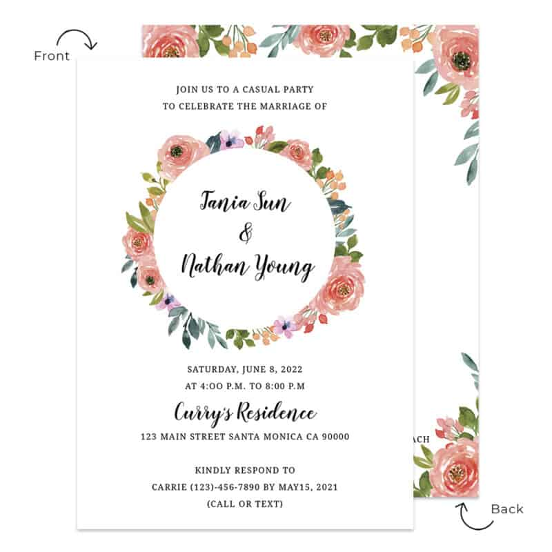 Personalized spring floral wedding reception invitation cards #538