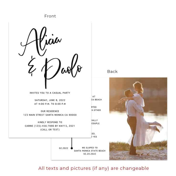 Minimalist wedding reception party invitation cards custom #540