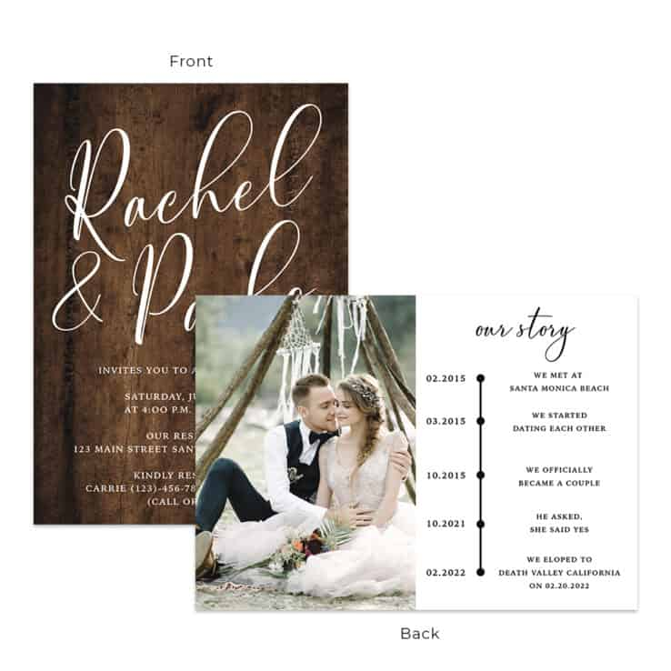 Rustic wedding reception invitation cards #542