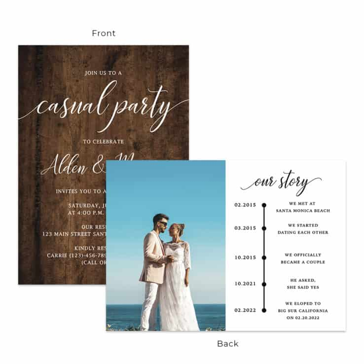 Beautiful rustic wedding reception party invitation cards #543