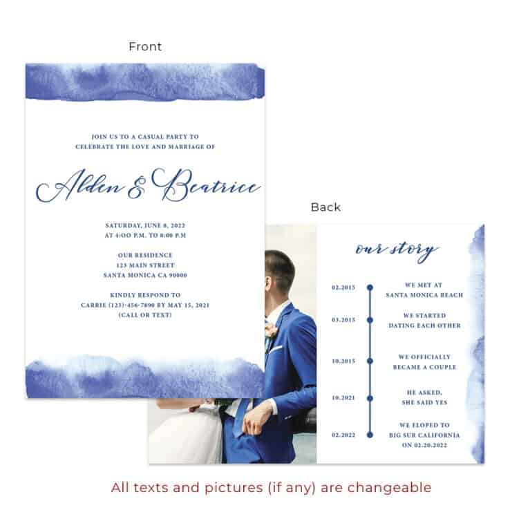 Wedding reception party invitation cards in blue, minimalist #545