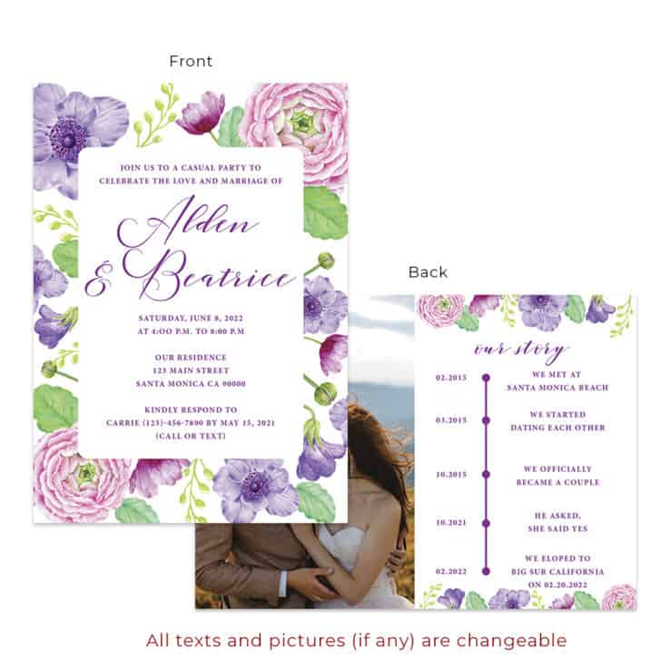 Custom spring floral wedding reception invitation cards #547
