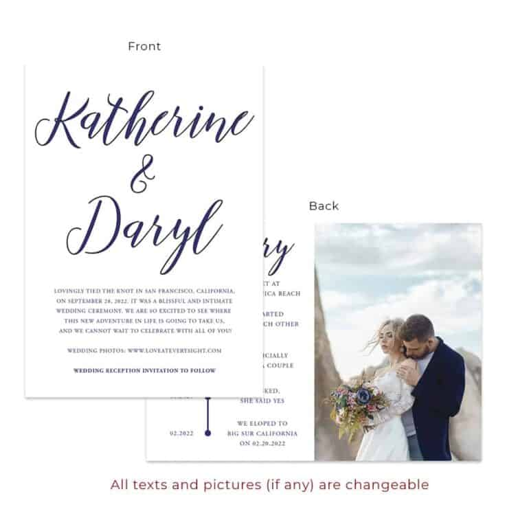 Navy blue custom wedding announcement cards, minimalist #549
