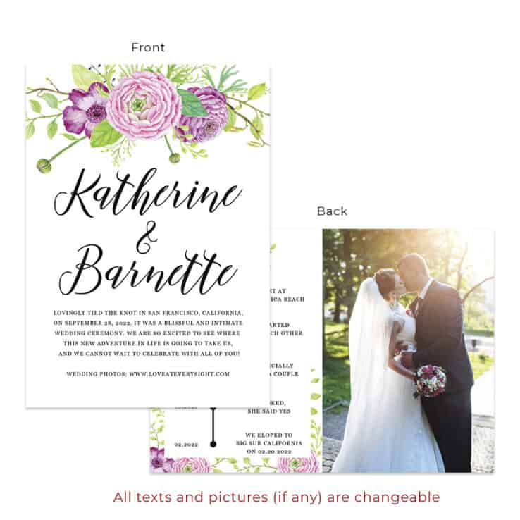 Spring floral ranunculus wedding elopement announcement custom cards #551
