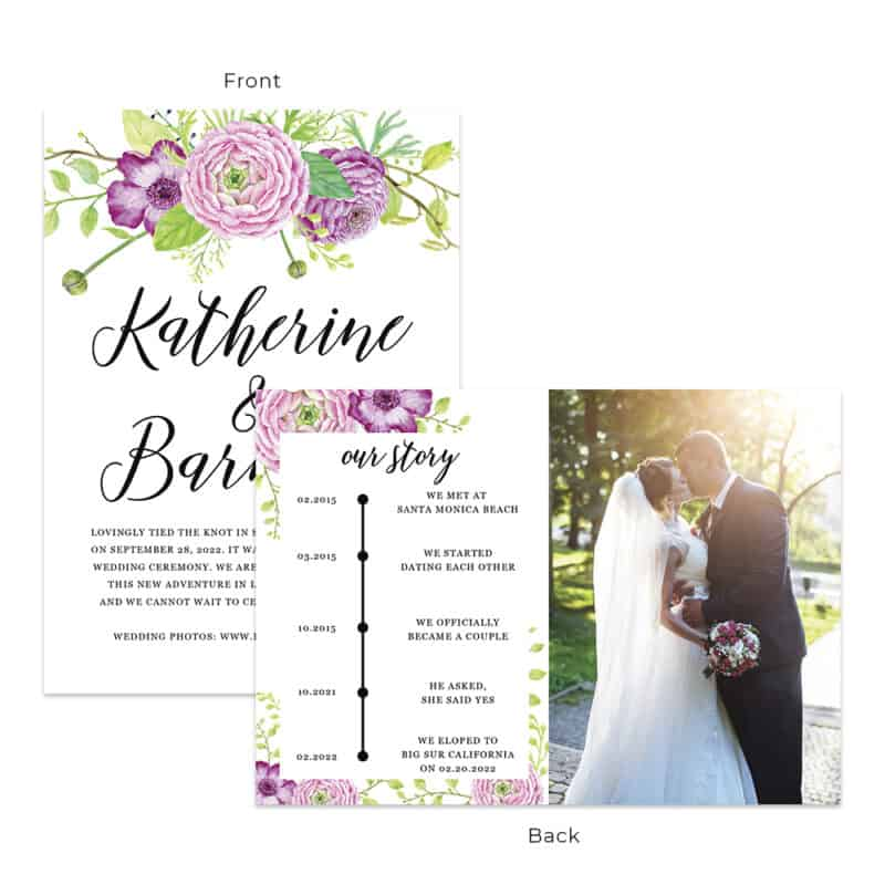 Spring floral ranunculus wedding elopement announcement custom cards #551