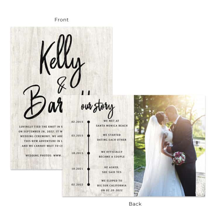 Rustic elopement announcement wedding personalize card #552