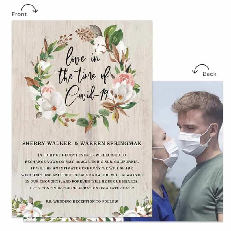 Outdoor greenery wedding elopement announcement custom card forest #553
