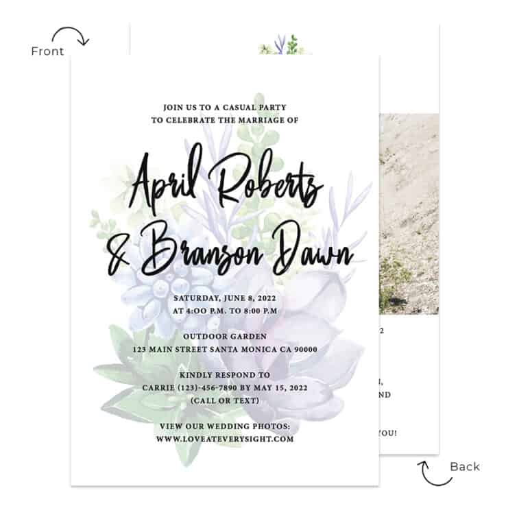 Outdoor greenery wedding elopement announcement custom card forest #553